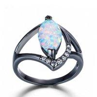 weißes pferd blau großhandel-Großes Pferd Auge Blau / Weiß Feuer-Opal-Ringe für Frauen Gefüllte runder Kristall Zircon Hohle 3 Farben-Ring
