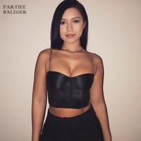 roupas de moda venda por atacado-2019 Hot New Trendy Cadeia de Design Sexy Spaghetti Strap Voltar Com Zíper Celebridade Party Club Wear Bandage Top