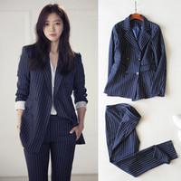 koreanische samtkleidung frauen großhandel-Neue Zweiteiler Koreanische Frauen Outfits Plus Size Kleidung Sets Frauen Samt Velours Mantel Weibliche Professionelle Arbeit Zweiteiler