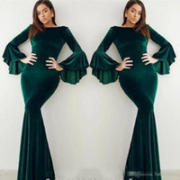 ünlü uzun yeşil elbise toptan satış-Popüler Kadife Koyu Yeşil Abiye Flare Uzun Kollu Mermaid Arapça Ünlü Abiye Gelinlik Örgün BC0524