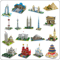 bloques de arquitectura al por mayor-Yz Architecture Taj Mahal Castle Pisa Louvre Museum Torre inclinada Khalifa Tower Bridge Diamond Building Nano Blocks Toy No BoxMX190820