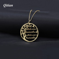 Wholesale color alloy chain resale online - Statement Family Tree Charm Necklace For Women Customized Name Pendant Gold Color Stainless Steel Personalized Jewelry Men Christmas Gift