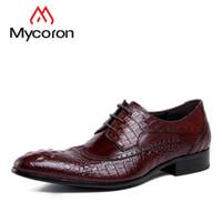 ботинки офисной обуви оптовых-MYCORON  Designers 2019 Business Men Shoes Crocodile Pattern Boots Formal Classic Office Men Shoes Heren Schoenen