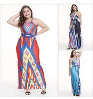 plus größe orange strandkleid großhandel-Plus Size Frauen Casual Strand Maxi-Kleid ärmelloses Neckholder, figurbetontes Boho-Kleid