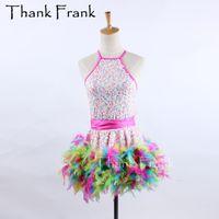 платья из перьев оптовых-Colorful Chicken Feather Latin Dress Women Girls Professional Competition Dance Dress Latin Costume Carnival Adult Costumes C536