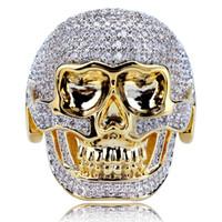 natürliche weiße saphirschmuck großhandel-Herren Hip Hop Gold Schmuck Punk Schädel Ring natürlichen weißen Saphir Diamant Cz Ring Freund Geschenk Größe 7-13