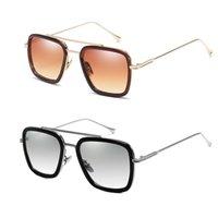 monture plastique lunettes de soleil aviateur achat en gros de-Lunettes de soleil aviateur rétro monture carrée en métal pour hommes Femmes lunettes de soleil lentille à gradient classique