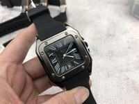 erkekler en ince saatler toptan satış-Erkek lüks saatler marka Ultra-ince moda kare İzle erkekler Için Silikon Band Kuvars Saatı Saat erkek Sevgililer Hediye 2019