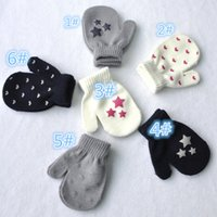 Wholesale baby girls gloves resale online - Winter Cute Boys Girls Gloves Knitted Wear Mittens Kids Child Outdoor Warm Gloves Baby Cute Print Mitten Gloves T Kindergaten A101401
