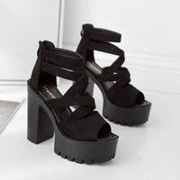 su geçirmez sandalet kadın toptan satış-Beast2019 Flanş Xiachaogao Su Geçirmez Platformu Kaba Roma Yüksek Ayak Oymak Ile Sandalet Kadın Sandalet