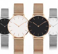relógios de prata e relógios homens venda por atacado-Diamantes de malha de aço do relógio 40 milímetros Mens e 32 milímetros Womens Unisex Quartz Bracelet relógio clássico subiu de prata de ouro das mulheres dos homens Relógios