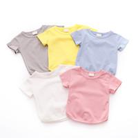 baby mädchen feste t-stück großhandel-1 Stück Baby Mädchen Kleidung Kleinkind Baby Mädchen Sommer Baumwolle Solid Print T-shirt Tops Bluse Kurzarm Casual T-shirt für Mädchen