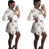 robe chemise blanche longue dames achat en gros de-Femmes Blouses Imprimées Blanc Noir Sexy Lapel Boutons Manches Longues Chemises Chemises Hauts Chemises Casual Pour Femmes Robe Robe Mini robe Streetwear Femme Vêtements