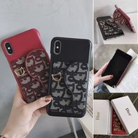 caja al por menor para los casos de teléfono móvil al por mayor-Funda para tarjeta Oblique Holder Card Holder para iPhone X XS MAX XR Funda para teléfono móvil para iPhone8 8plus 7 7plus 6 6s Plus + Caja al por menor