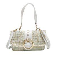 Wholesale pearl color handbag resale online - Women Small Tide Woolen Hit Color Pearl Handbag Wild Single Shoulder Bag Luxury Handbag Cover Square Messenger Bags