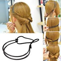 plastikgeflecht stirnband groihandel-Mode Frau Haarschmuck Magie Locken Brötchen Doppel Haarbänder Haarband Braid Schwarz Kunststoff Stirnband