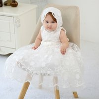 Wholesale baby gown hat resale online - Newborn Baby Girls Dress Set M Hollow Sleeveless Solid Back Bow Strap Zipper Christening Gown Outfits with Hollow Hat