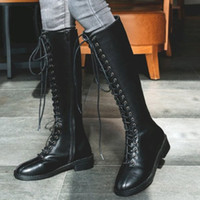 Wholesale british knights boots resale online - 35 Size Classic British Knight boots Women s Fashion Solid Lace Up Knee high Flat Heels Solid color Knight Boots Shoes