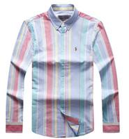 top camisa de algodón para hombre al por mayor-Ralph Polo Lauren Brand Men Shirt Designer New Style Mens Tops Classic Fashion Striped Shirts Leisure Pullover Cotton High Quality Shirt