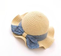 Wholesale girls straw wide brim hat resale online - Children s bow girl straw hat travel visor baby beach hat