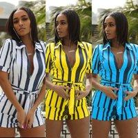 bodysuit amarelo mais tamanho venda por atacado-Verão Womens Stripe Jumpsuit Bodysuit Evening Partido Romper Senhoras Calças Curtas Plus Size Amarelo Azul Branco Playsuits