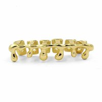 Wholesale TOPGRILLZ Fit Gold Color Plated Hip Hop Teeth Grills Drip Grillz Caps Lower Bottom Tooth Grill