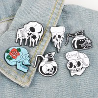 flores de coral rosa al por mayor-Rose Flowers Japanese Samurai Ninja Skull pins Coffee Flower Pizza Skeleton Lapel pins Punk Joyas Oscuras Broches para hombres mujeres