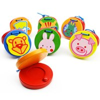 Wholesale castanets toys for sale - Group buy Exquisite wooden Orff musical instrument cartoon round animal castanets toys children s enlightenment Puzzle educational toys