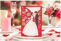 kırmızı zarf davetiyeleri toptan satış-Kırmızı Lazer Kesim Düğün Davetiyeleri Kart ile Zarf Mühür Etiket Hollow Çiçek Şekil Düğün Olaylar Favor Malzemeleri Özelleştirilmiş