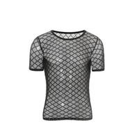 kulüp gece iç çamaşırı toptan satış-Erkekler En Boxer Set / Şeffaf Mesh Gömlek İç Sıkı Atlet Eşcinsel Shapewear En Tees Gece Kulübü Erotik Lingerie Elmas