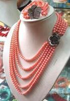 kadın mercan bilezikleri toptan satış-6-7 MM PEMBE CORAL BONCUK KOLYE BILEZIK SET stylenew takı Kuvars Kristal Kadınlar Düğün