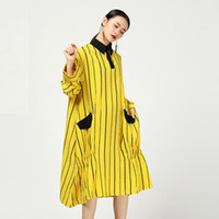 Wholesale new spring fashion linen for sale - Group buy 2019 New Fashion Spring Striped Cotton Linen Female s Dress Long Sleeve Turn Down Collar Large Size Vestido