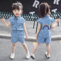 robes de deux pièces en coréen achat en gros de-Les filles mis 2019 nouvelle robe d'été version coréenne de la mode des vêtements pour enfants à la mode des femmes au Trésor denim shorts deux pièces