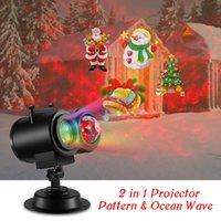 ingrosso luce del modello acqua-Luci per proiettore laser natalizio a doppia testa ad onda d'acqua Lampada per proiettore rotante a colori con 12 motivi e telecomando