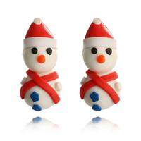 pendientes de arcilla al por mayor-Cute Snowman Polymer Clay Stud Earring Women Cartoon Christmas Snowman Earring Jewelry Gift for Love Girlfriend