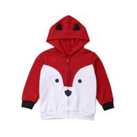 ingrosso ragazzi con cappuccio con zip-New Kids Toddler Boy Red Fox Felpe con cappuccio Felpa Top Giacca con zip Cappotti Abbigliamento