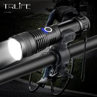 yakınlaştırma bisikleti toptan satış-20000LM XHP50 LED Bisiklet En Güçlü USB Şarj Edilebilir USB Zoom Bisiklet Işık Torch 18650 26650 açık Bisiklet Işık için