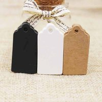 etiquetas blancas en blanco al por mayor-3000 unids Kraft / blanco / negro Cartón 2 * 4 cm en blanco vieira Etiqueta de regalo productos hant etiqueta Para DIY Cuelgue Etiquetas Tarjeta de felicitación artesanía