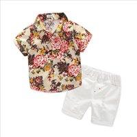 chemise bébé garçon à fleurs achat en gros de-2pcs / lot Toddler Bébé Garçon Vêtements Garçons Chemises Florales avec Coton Pantalon Court Enfants Mode Gentleman D'été Tenues Décontractées Ensembles Vêtements 1-5