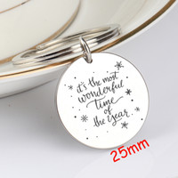 Wholesale most gifts resale online - For Christmas Gift It s The Most Wonderful Time Of The Year Fashion Round Stainless Steel Jewelry Unisex Gift Charm Key Ring