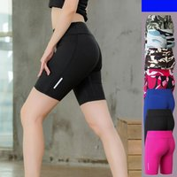 Wholesale sky yoga pants resale online - 7 Colors Women Cotton Yoga Sports Shorts Gym Leisure Homewear Fitness Pants Drawstring Shorts Beach Running Exercise Pants Tight Shorts