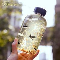 buzlu su şişeleri toptan satış-Yaratıcı Kutup Ayısı Penguen Cam Su Sevimli Hayvan Buz Şişeleri Karikatür Kamp Spor Şişe Tur Drinkware Zakka Q190525