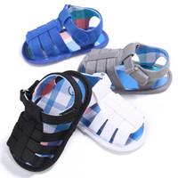 sandálias bebê recém-nascido venda por atacado-Pudcoco Bebê Recém-nascido Meninos Sandálias de Verão Infantil Novos Sapatos Macios 0-18 Meses