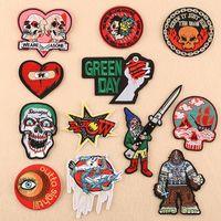 parches punk envío gratis al por mayor-30 piezas de envío gratis de hierro en parches ojos, amor, cráneo, carta, punk, viento, accesorios de vestir, pegatinas de parche