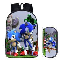 mochilas escolares mario al por mayor-16 pulgadas Mario Bros Sonic the Hedgehog bolso de escuela para los niños Boy mochila escolar sistemas de los niños de escolar del lápiz bolsa del niño