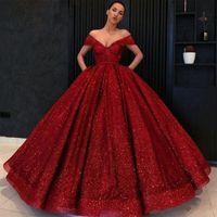 resmi elbise lebanon toptan satış-Uzun Glitz Abiye 2020 Kabarık V yaka kap Kol Suudi Arabistan Burgonya Kadınlar Lübnan Örgün Abiye Giyim