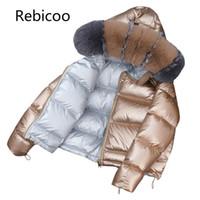 büyük parka ceketi kadın toptan satış-Marka Kış Kadın Tilki büyük kürk yaka Ceket Kore Aşağı pamuk Gevşek Kalın Kısa Giyim Parkas Kadın Kapüşonlu Mont