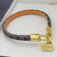 rote armband bestellen großhandel-Luxusmarke Design Armbänder Mode Runde Echtes Leder Armbänder mit Gold Tasche Für Frauen und Männer Blumendruck Armband Schmuck