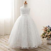 kız için işlemeli tül elbisesi toptan satış-Çocuklar Kızlar Işlemeli Dantel Çiçek Tül abiye Düğün Abiye Çocuk Yaz Kolsuz Parti Balo Prenses Elbiseler Giysileri