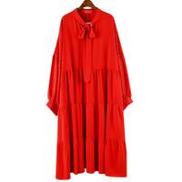 kore şifon elbiseler stil uzun toptan satış-Aen Kore Stil Pluz Boyutu Moda Elbise Kadın Sonbahar Yeni Yay Uzun Kollu Bayanlar Şifon Elbise Katı Renk Elbiseler